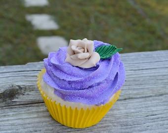 Yellow and Purple Cupcake (fake)