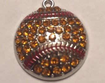 Sale!!5 pc 10pc crystal softball charm pendants bulk  lowest price yet!!