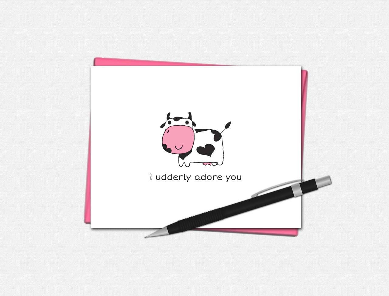 I Udderly Adore You - Valentines Day Cards