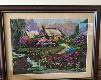 Cross Stitched House and Stream