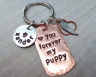 Love you Forever Pet Memorial Keychain - Forever in my heart Personalized Pet Name Keychain - Dog Cat Remembrance Gift - Memorial Gift - P35