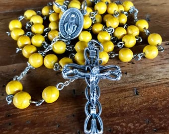 Rosary, handmade with yellow turquoise beads, ornate silver crucifix and Immaculate Medal center station. Available in other colors, options