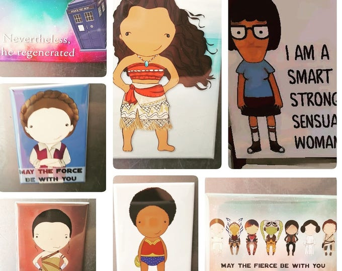 Featured listing image: Magnet Pack! PICK 6! Buy 5, Get 1 Free! Pop culture, Superheroes, Book Covers, Princesses, Doctor Who, Sherlock, & More!