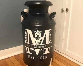 Milk Can Decal, Personalized Decal, Home Decor, Antique Milk Can Decal