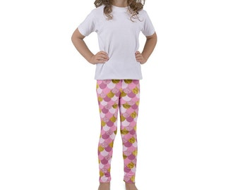 KIDS LEGGING Faux Pink Gold Mermaid Leggings Girls Leggings Girls Mermaid Outfit Cute Leggings Mermaid Present Mermaid Scales Kids Yoga Pant