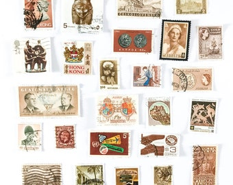 25 x brown neutral, used postage stamps from 20 different countries, all off paper for collage, stamp collecting, decoupage and crafting