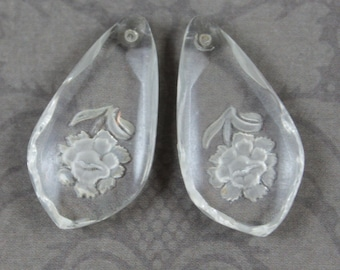 Pair of Vintage Western German Rose Frosted Etched Clear Glass Pendants