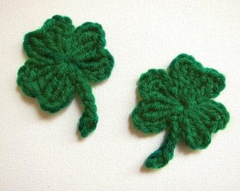"1pc 3"" Crochet St. PATRICK'S SHAMROCK, Clover Applique"