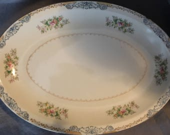 """13"""" Oval Serving Platter by Crown Ivory China"""