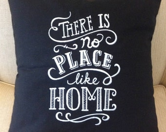 """Embroidery Throw Pillows """"There is No Place Like Home"""", Embroidered Pillows Cotton Fabric Black Red Linen... Choice of 10 Thread Colors"""