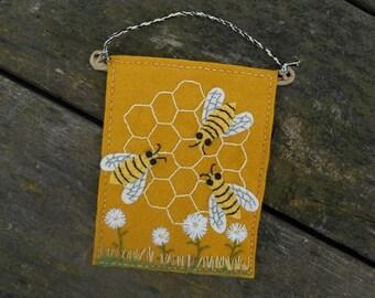 Bees, Honeybees, Honeycomb, Kitchen Art, Housewarming Gift, Rustic Fiber Art, Embroidery Art, Wallart