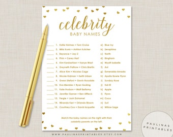 Celebrity Baby Name Game, Pink and Gold Shower Game, Baby Shower Games, Gold Hearts, Gold Baby Shower, Celebrity Baby Names, Gold Glitter