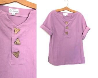 Lavender 90's Minimalist Blouse Tunic Boho Shirt Cotton Purple Gauze Hippie Shirt 80's Clothing Medium Large A2