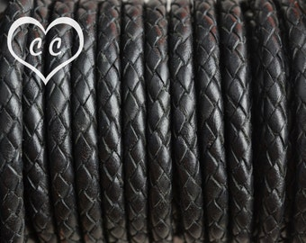 Black / Bolo Braided / 6mm Leather Cord / leather by the yard / round leather cord / genuine leather / necklace cord / bracelet cord