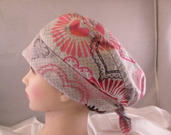 Women's Pixie Scrub Hat Hearts Gray