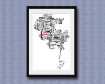 Los Angeles Map Typography Map Poster Print Tyographical Map