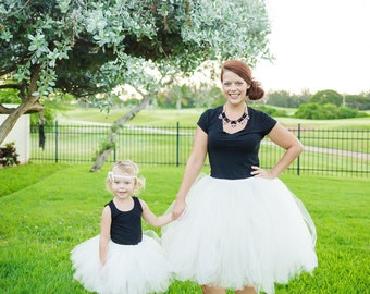 Ivory Mommy & Me Tulle Skirts - Ivory tutus, Plus size tutu, Girls tutu, Womens skirt, Wedding tulle skirt, Bridesmaids tulle skirt