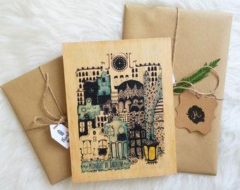 "Wood print ""Midnight in Barcelona"""