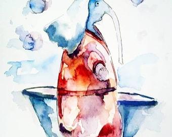Children watercolor illustration. The wet Elephant. Wet Elephant. Bathroom or bedroom.