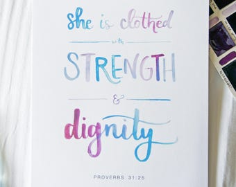 Proverbs 31:25 Printable | Mother's Day Printable Art | She is Clothed with Strength and Dignity | Watercolor Art Print