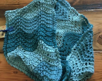Hand Knit Wave Lace Cowl Scarf Aquas