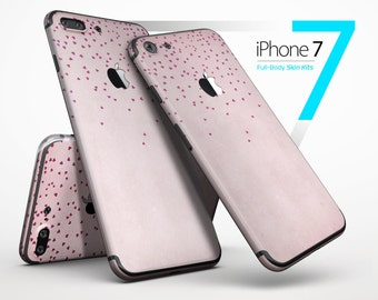 Mauve Hearts Over Pale Pink Watercolor - Skin Kit for the iPhone X, 8/8 Plus, 7/7 Plus, 6/6s Plus, 5/5s/SE, Galaxy Note 8, S8 & More