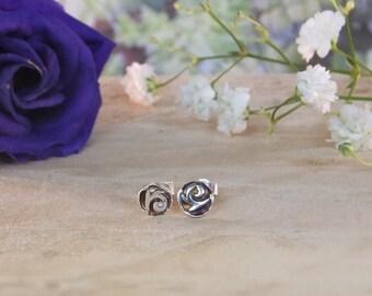 swirl earrings, swirl studs, wave earrings, dainty earrings, nature jewellery, sterling silver, silver stud earrings, gifts for her, jewelry