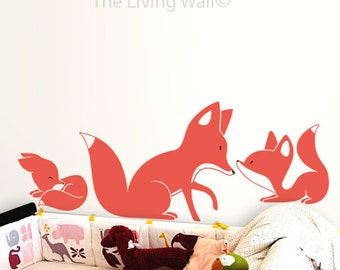 Foxes Wall Decals Wall Stickers Kids room Decor, Fox Nursery Wall Art, Australian made