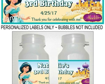 30 PRINCESS JASMINE Birthday party favors bubble labels