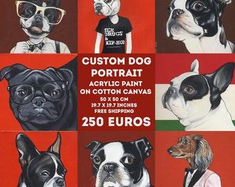 Benutzerdefinierte Hund Portrait / 50 x 50 cm