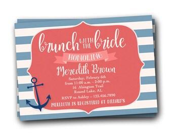 Nautical Bridal Shower Invitation, Wedding Shower Invite, Bridal Brunch Invitation, Brunch Invite, Nautical Invitation