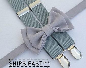 Light Gray Bow Tie &  Light Gray Suspenders for Groom, Groomsmen, Ring Bearer
