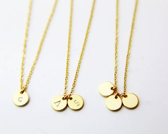 Delicate Initial Necklace / Gold Disc Necklace / Silver letter Necklace / Personalized Necklace / Dainty Monogram Charm / Bridesmaid Gift
