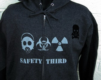 TALL Mens  TRIPLE THREAT  Safety Third Pouch Hoodie - hooded Sweatshirt xlt 2xlt 3xlt Gas Mask Biohazard Radioactive Safety 3rd Big & Tall