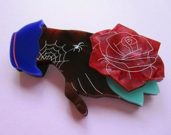 Fancy Hand - The Red Rose Brooch
