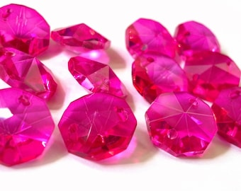 50 Fuchsia 14mm Octagon Chandelier Crystals Beads