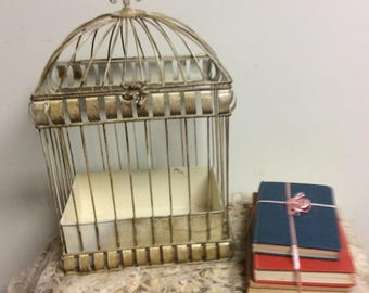 Large Rustic Tarnished Metal  Victorian Style Bird Cage Wedding Card Holder Vanity Keepsake Housewarming Gift Nursery Decor Baby Shower