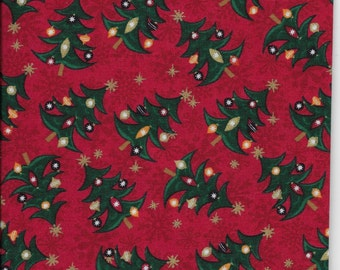 """New Decorated Christmas Trees with Ornaments and Lights on Red 100% Cotton Fabric 17"""" x 17"""" Piece"""