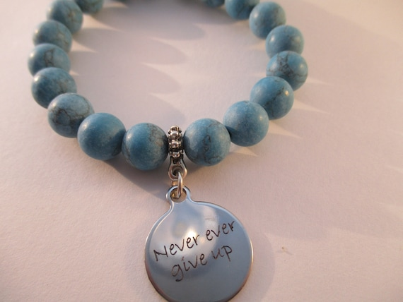 Matte Magnesite and Never Give Up Charm Stretch Bracelet B617171