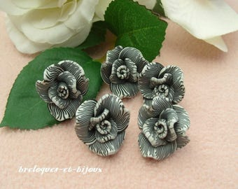 FLOWERS CHINEES charms set of 5 pink mottled black and white clay 2 cm for embellishment leisure crafts scrapbooking