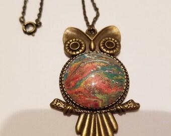Owl Paint Pour Pendant #3