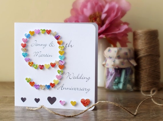 9th Year Wedding Anniversary Gifts: 9th Wedding Anniversary Card Handmade Personalised Ninth
