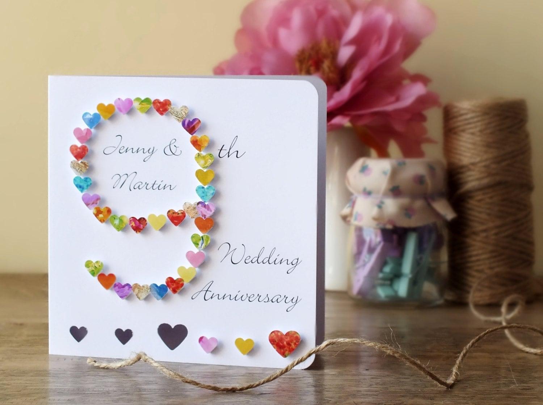 9th wedding anniversary card handmade personalised ninth zoom kristyandbryce Choice Image