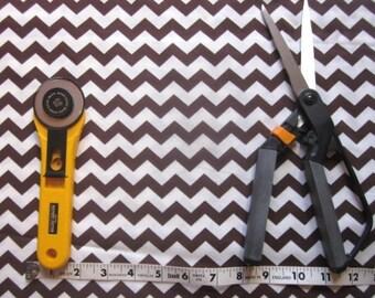 Brown and White Chevron Fabric 1 yard - Quilt Fabric, Craft Fabric