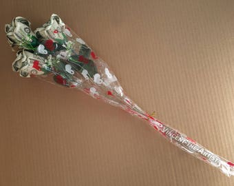 Three Money ROSE BOUQUET Dollar Origami Flower Cash Gift
