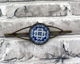 Blue hair slide, Blue statement hair pin, Blue hair accessories, Vintage inspired bobby pin, Large bobby pin, Brass hair pin, Uk seller