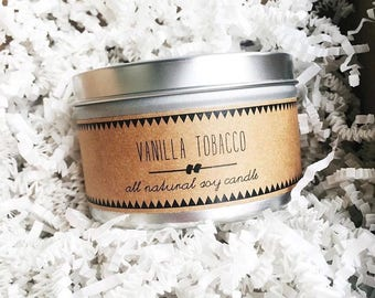 VANILLA TOBACCO Soy Candle // scented candle vanilla scented candle clean burning natural soy candles eco friendly gift handmade soy candles