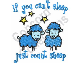 Just Count Sheep - Machine Embroidery Design, Sheep, Stars