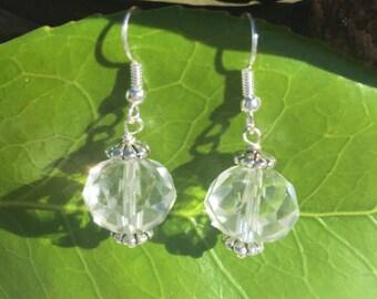Crystal Earrings - Simple Clear Earrings - Bead Earrings - Basic Earrings - Short Earrings - Glass Bead Jewelry