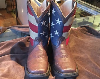 "Children's Cowboy Boots Red White Blue and Brown Leather Western Style Boots Boys Size 13 M ""Durango"""